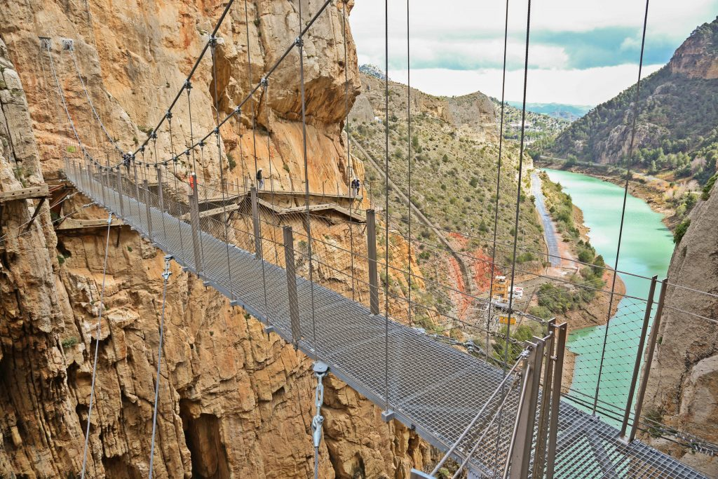 The hanging bridge at the end of El Caminito del Rey